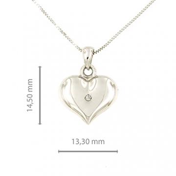 Lucchetta Schmuck, Goldkette Damen 750 Echtgold mit Diamant, Halskette Anhänger Herz 18 karat Weißgold, Echtgoldkette, 45cm - 4
