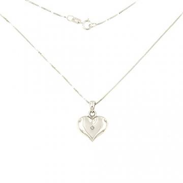 Lucchetta Schmuck, Goldkette Damen 750 Echtgold mit Diamant, Halskette Anhänger Herz 18 karat Weißgold, Echtgoldkette, 45cm - 5