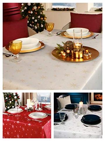 Lurex Tischdecke Sterne Farbe & Größe wählbar - Eckig 130x260 cm Rot - dezent glitzernd Tischdecke Weihnachten - 2