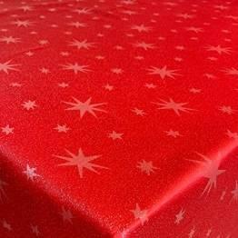 Lurex Tischdecke Sterne Farbe & Größe wählbar - Eckig 130x260 cm Rot - dezent glitzernd Tischdecke Weihnachten - 1