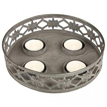 MACOSA Kerzenteller grau Antik Look, filigranes Muster rund Metall Vintage Nostalgie Tischdeko Kerzenhalter Kerzenhalter - 2