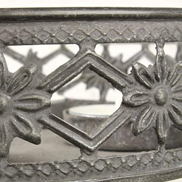 MACOSA Kerzenteller grau Antik Look, filigranes Muster rund Metall Vintage Nostalgie Tischdeko Kerzenhalter Kerzenhalter - 3