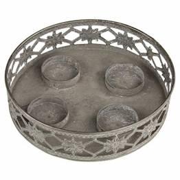 MACOSA Kerzenteller grau Antik Look, filigranes Muster rund Metall Vintage Nostalgie Tischdeko Kerzenhalter Kerzenhalter - 1