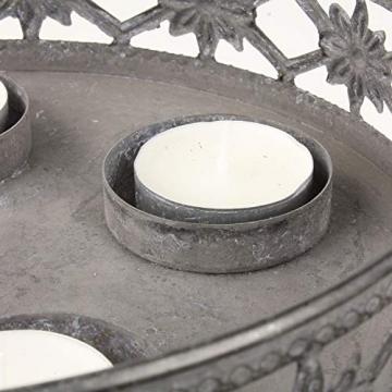 MACOSA Kerzenteller grau Antik Look, filigranes Muster rund Metall Vintage Nostalgie Tischdeko Kerzenhalter Kerzenhalter - 4