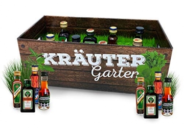 Männer-Kräutergarten | witziges Geschenk mit Alkohol | 8x Kräuter-Likör für Männer und Frauen | Jägermeister, Kümmerling u.v.m. - 2
