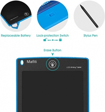 mafiti LCD Schreibtafel für Kinder, Handschrift Notizblock, Zeichnung Boards Schreibtafel für Kinder, Doodle Board, Writing Tablet, Geschenk für Kinder Erwachsene Home School Office (8,5 Zoll Blau) - 3