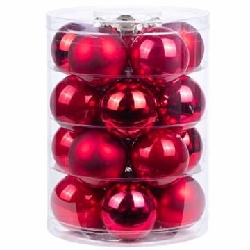 MAGIC Weihnachtskugeln Glas 6cm 20 STK. Christbaumkugeln (Classic red (rot Glanz/matt/Opal)) - 1