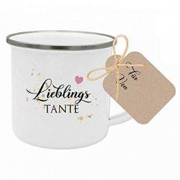 """Manufaktur Liebevoll Tasse mit Spruch """"Lieblingstante"""" I Das perfekte Geschenk für die Tante I Geschenkidee zum Geburtstag und als Dankeschön I mit Geschenkanhänger - 1"""