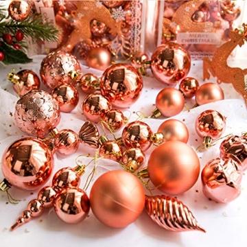 MEISHANG 30PCS Weihnachtskugeln,Kunststoff Christbaumkugeln,Weihnachtsbaum Bälle Dekorationen,Weihnachtskugeln Ornamente,Weihnachtsbaumschmuck,Weihnachtsbaum Dekoration - 3