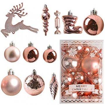 MEISHANG 30PCS Weihnachtskugeln,Kunststoff Christbaumkugeln,Weihnachtsbaum Bälle Dekorationen,Weihnachtskugeln Ornamente,Weihnachtsbaumschmuck,Weihnachtsbaum Dekoration - 1