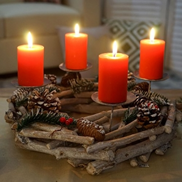 Mendler Adventskranz rund, Weihnachtsdeko Tischkranz, Holz Ø 35cm weiß-grau - mit Kerzen, rot - 3