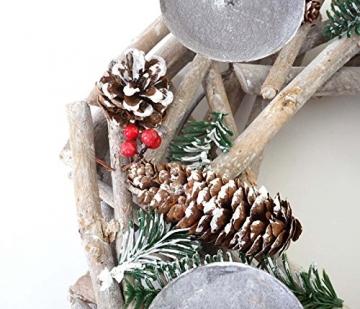 Mendler Adventskranz rund, Weihnachtsdeko Tischkranz, Holz Ø 35cm weiß-grau - mit Kerzen, rot - 4