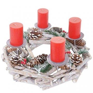 Mendler Adventskranz rund, Weihnachtsdeko Tischkranz, Holz Ø 35cm weiß-grau - mit Kerzen, rot - 1