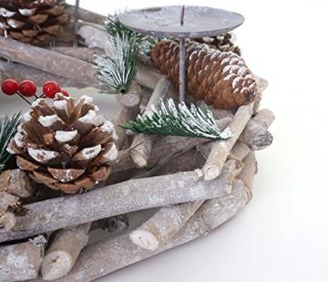 Mendler Adventskranz rund, Weihnachtsdeko Tischkranz, Holz Ø 35cm weiß-grau - mit Kerzen, rot - 5