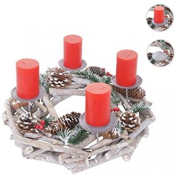 Mendler Adventskranz rund, Weihnachtsdeko Tischkranz, Holz Ø 35cm weiß-grau - mit Kerzen, rot - 6