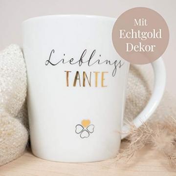 mintkind® Kaffeebecher Lieblingstante   Geschenk-Idee für die Tante   Porzellan-Tasse als Geschenk für die Beste Tante zum Geburtstag, zu Ostern, zu Weihnachten oder als Dankeschön - 2
