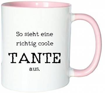 Mister Merchandise Kaffeetasse Becher So Sieht eine richtig Coole Tante aus Aunt, Farbe: Weiß-Rosa - 1