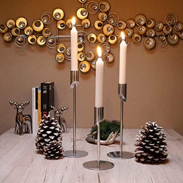 MK-BRAVA Kerzenständer 3er Set 17/23/27cm Silber Deko Kerzenhalter Stabkerzen Aluminium Metall Modern Vintage für Wohnzimmer Weihnachten Advent - 2