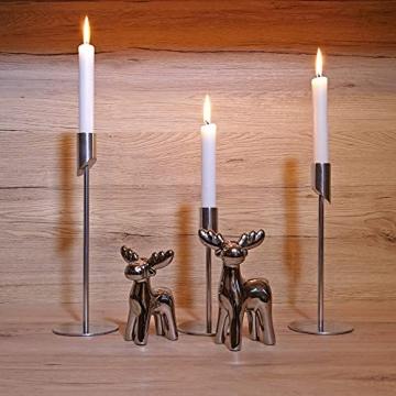 MK-BRAVA Kerzenständer 3er Set 17/23/27cm Silber Deko Kerzenhalter Stabkerzen Aluminium Metall Modern Vintage für Wohnzimmer Weihnachten Advent - 3