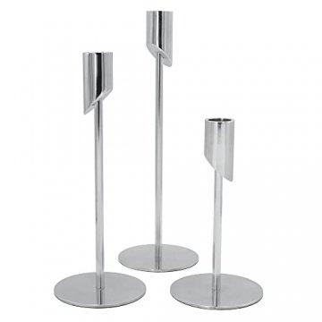 MK-BRAVA Kerzenständer 3er Set 17/23/27cm Silber Deko Kerzenhalter Stabkerzen Aluminium Metall Modern Vintage für Wohnzimmer Weihnachten Advent - 1