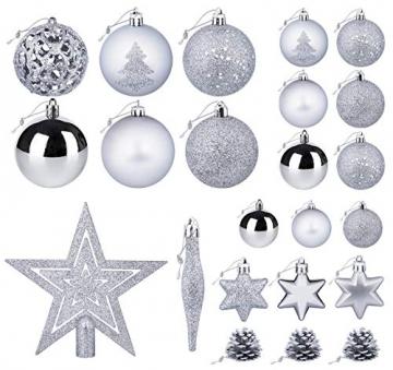 Mocraft Weihnachtskugeln 115er Set Christbaumkugeln Silber Weihnacht Ornamente, Set inkl. Baumspitze Kiefernzapfen Stern Dekoration gemalte Kugel ∅ 30/40/60mm - 3