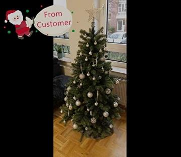 Mocraft Weihnachtskugeln 115er Set Christbaumkugeln Silber Weihnacht Ornamente, Set inkl. Baumspitze Kiefernzapfen Stern Dekoration gemalte Kugel ∅ 30/40/60mm - 5