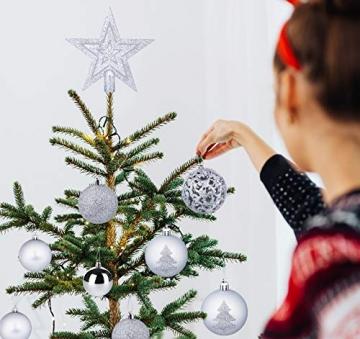 Mocraft Weihnachtskugeln 115er Set Christbaumkugeln Silber Weihnacht Ornamente, Set inkl. Baumspitze Kiefernzapfen Stern Dekoration gemalte Kugel ∅ 30/40/60mm - 7