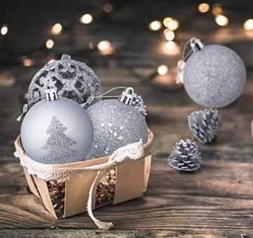 Mocraft Weihnachtskugeln 115er Set Christbaumkugeln Silber Weihnacht Ornamente, Set inkl. Baumspitze Kiefernzapfen Stern Dekoration gemalte Kugel ∅ 30/40/60mm - 8