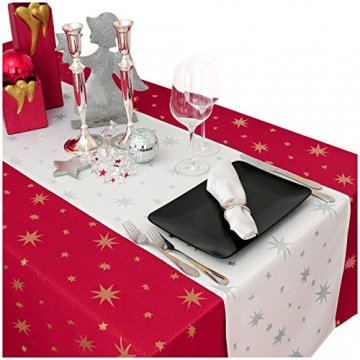 MODERNO Lurex Sterne Tischdecke Eckig 130x220 cm Rot Gold, Weihnachtstischdecke Größe und Farbe wählbar (Gold, Silber oder Rot glänzend) - 3