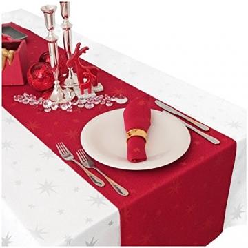 MODERNO Lurex Sterne Tischdecke Eckig 130x220 cm Rot Gold, Weihnachtstischdecke Größe und Farbe wählbar (Gold, Silber oder Rot glänzend) - 4