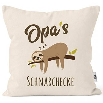 MoonWorks® Kissen-Bezug Spruch Opa's Oma's Mama's Papa's Schnarchecke Faultier Print Kissen-Hülle Deko-Kissen Baumwolle Opa Natur Unisize - 1