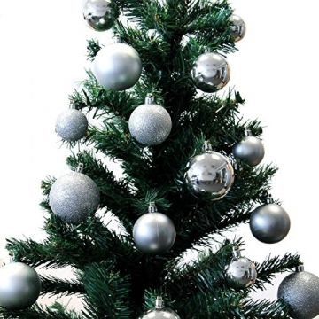 Multistore 2002 70 Stück Christbaumkugeln inklusive Aufbewahrungsbox Silber Ø4/5/6cm Weihnachtsbaumkugeln Baumkugeln Tannenbaumschmuck Weihnachtsdekoration Kunststoffkugeln Tannenbaumkugeln - 2