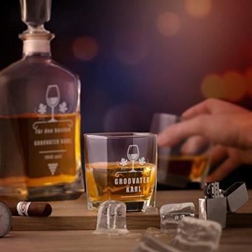Murrano Whiskey Karaffe + 4er Whiskygläser Set mit Gravur - 700ml Whisky Dekanter - Geschenk zum Geburtstag für Männer - Onkel - 2