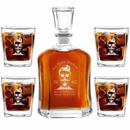 Murrano Whiskey Karaffe + 4er Whiskygläser Set mit Gravur - 700ml Whisky Dekanter - Geschenk zum Geburtstag für Männer - Onkel - 1