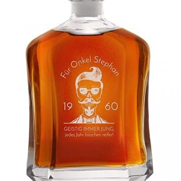 Murrano Whiskey Karaffe + 4er Whiskygläser Set mit Gravur - 700ml Whisky Dekanter - Geschenk zum Geburtstag für Männer - Onkel - 4