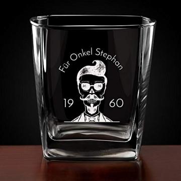 Murrano Whiskey Karaffe + 4er Whiskygläser Set mit Gravur - 700ml Whisky Dekanter - Geschenk zum Geburtstag für Männer - Onkel - 5
