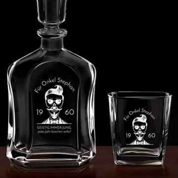 Murrano Whiskey Karaffe + 4er Whiskygläser Set mit Gravur - 700ml Whisky Dekanter - Geschenk zum Geburtstag für Männer - Onkel - 6