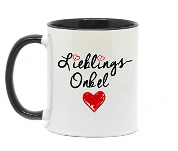 Nice-Presents-de <></noscript> Tasse Lieblings Onkel in hochwertiger Qualität, beidseitig Bedruckt. Eine schöne Art etwas zu Sagen. EIN tolles Geschenk für den Lieblingsonkel z.B. als Dankeschön. (Schwarz) - 2