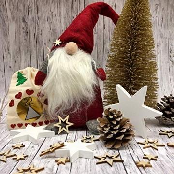 Oblique Unique® 18 Holz Sterne Holzdeko Weihnachtsdeko Tischdeko Weihnachten Echtholz - Farbe wählbar (Natur) - 4