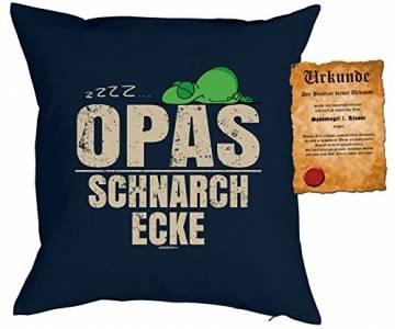 Opa Sprüche Kissen Geschenk - Großvater Geschenk : zzz… Opas Schnarch Ecke - Kissen ohne Füllung + Urkunde - Farbe: Navyblau - 1