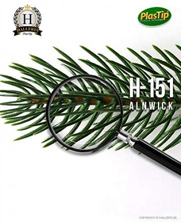 Original Hallerts® Spritzguss Weihnachtsbaum Alnwick 150 cm als Nordmanntanne - Christbaum zu 100% in Spritzguss PlasTip® Qualität - schwer entflammbar nach B1 Norm, Material TÜV und SGS geprüft - 7