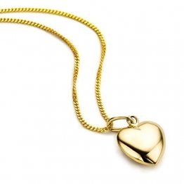 Orovi Kette - Halskette Damen Gelbgold 9 Karat / 375 Gold Kette mit Herz 45 cm - 1