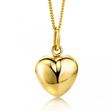 Orovi Kette - Halskette Damen Gelbgold 9 Karat / 375 Gold Kette mit Herz 45 cm - 2