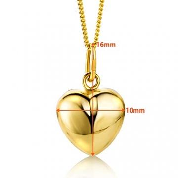 Orovi Kette - Halskette Damen Gelbgold 9 Karat / 375 Gold Kette mit Herz 45 cm - 3