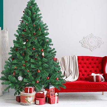 OUSFOT Weihnachtsbaum Künstlich 182cm (Ø ca. 110 cm) 800 Äste schwer entflammbarer Tannenbaum mit Schnellaufbau Klappsysem Material PVC inkl. Metallständer - 3