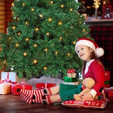 OUSFOT Weihnachtsbaum Künstlich 182cm (Ø ca. 110 cm) 800 Äste schwer entflammbarer Tannenbaum mit Schnellaufbau Klappsysem Material PVC inkl. Metallständer - 4