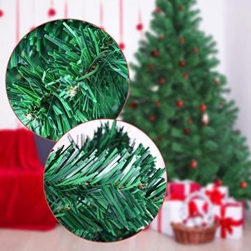 OUSFOT Weihnachtsbaum Künstlich 182cm (Ø ca. 110 cm) 800 Äste schwer entflammbarer Tannenbaum mit Schnellaufbau Klappsysem Material PVC inkl. Metallständer - 8
