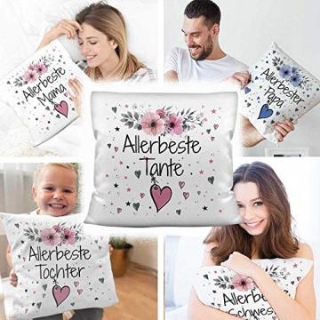 PR Print Royal Geschenk-Set aus Tasse und Kissen mit Füllung - Allerbeste Tante - Persönliche Geschenkidee für Beste Freunde, Verwandte und Familie - weiß/rosa - 3