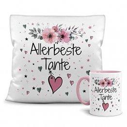 PR Print Royal Geschenk-Set aus Tasse und Kissen mit Füllung - Allerbeste Tante - Persönliche Geschenkidee für Beste Freunde, Verwandte und Familie - weiß/rosa - 1