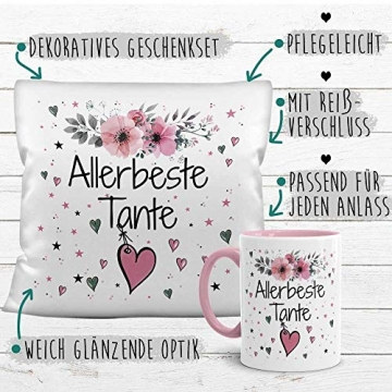 PR Print Royal Geschenk-Set aus Tasse und Kissen mit Füllung - Allerbeste Tante - Persönliche Geschenkidee für Beste Freunde, Verwandte und Familie - weiß/rosa - 4
